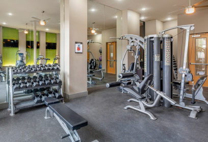 Fitness center with free weights and fitness station
